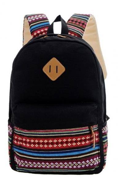 New Unisex Canvas Patchwork Backpack National Style Soft Casual Outdoor School Bag Ruckrack
