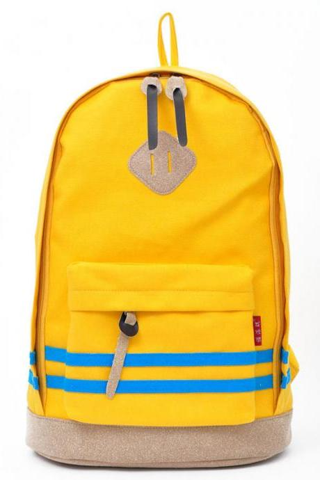 Contrast Color Stripe Canvas Backpack Bag