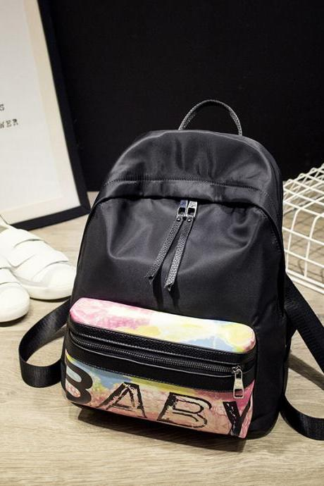 Letter Floral Print Fashion PU Backpack