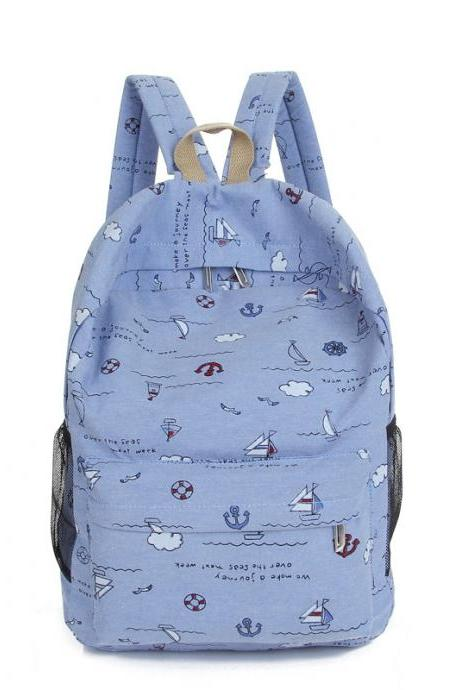 Bright Color Sailing Print Cute School Backpack Bag