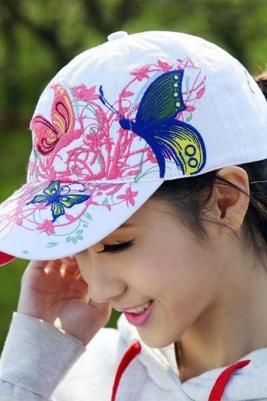 High Quality New Womens Embroidered Flowers Butterflies Baseball Sport Fashion