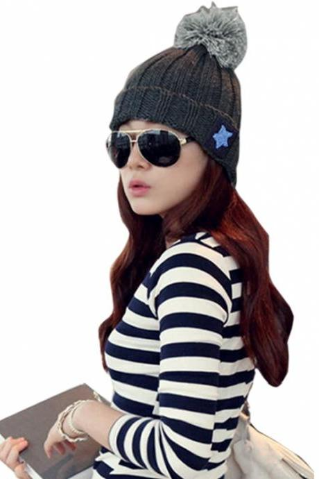 Roll-up Hem Bulb Pentagram Wool Knitted Hat Women Accessories