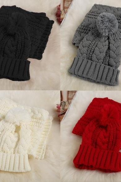 Fashion Women Girl Winter 2pcs Warm Knitted Weave Set Scarf + Benie Hat Cap
