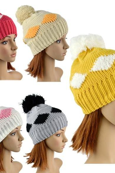 New Women's Diamond Grid Pattern Beanie Crochet Knit Winter Hat Large Ball Cap Ski