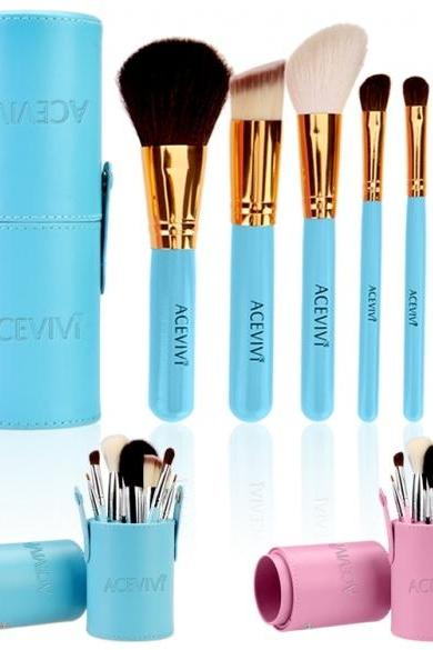 Fashion Women Lady's 7pcs Makeup Cosmetic Tools??Powder Foundation Blush Brush Brushes Set In Barrel