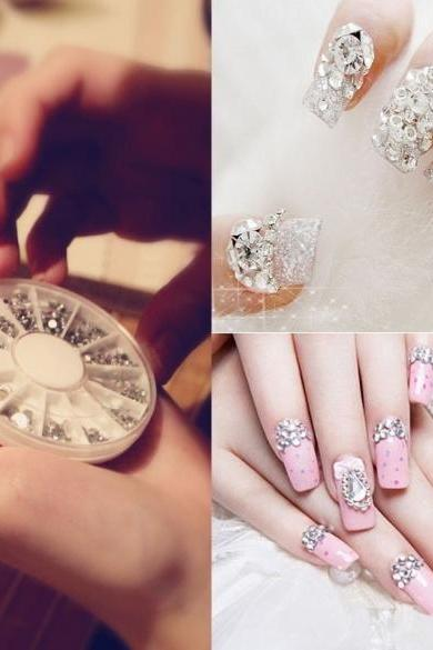 New Nail Art Tips Crystal Glitter Rhinestone Decoration Wheel 4 Sizes 300pcs