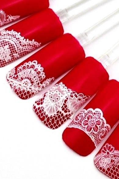 Women Manicure Tool Accessory 3D Lace Design Nail Art Decal Half Nail Sticker Decoration 24 Sheets A Set