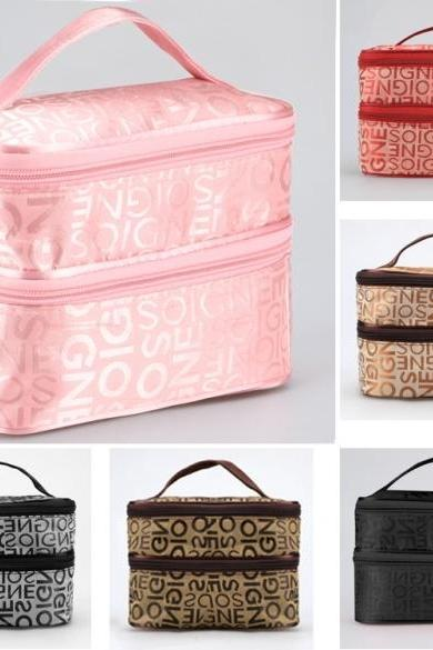 New Women Zipper Double Layered Character Cosmetic Case Makeup Bag