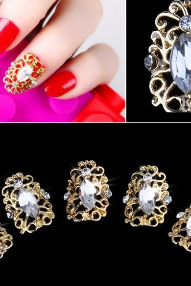 Golden Plate 3D Hollow Crystal Stickers Metal Alloy Rhinestone Full Nail Art