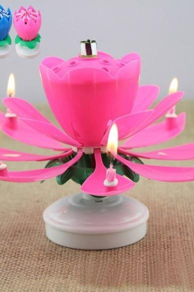 Romantic Musical Flower Rotating Happy Birthday Candle Party Surprise Gift Light
