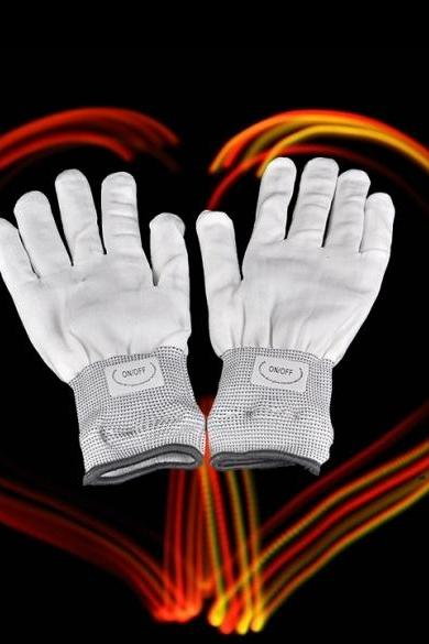 LED Rave Flashing Gloves Glow 7 Mode Light Up Finger Lighting White