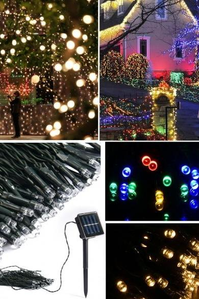 New 10M 50 LED Outdoor Light Christmas String Fairy Wedding Party String Solar Lamp Light