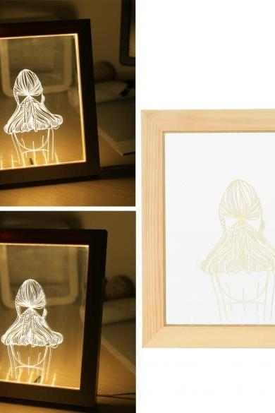 3D LED Light Wood Picture Frame Desk Lamp Room Decoration USB Night Lights
