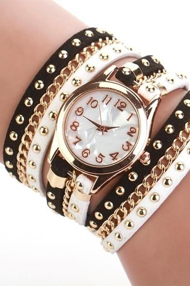 New Fashion Women's Three Strap Chain Watch Wrap Circle Wristwatch
