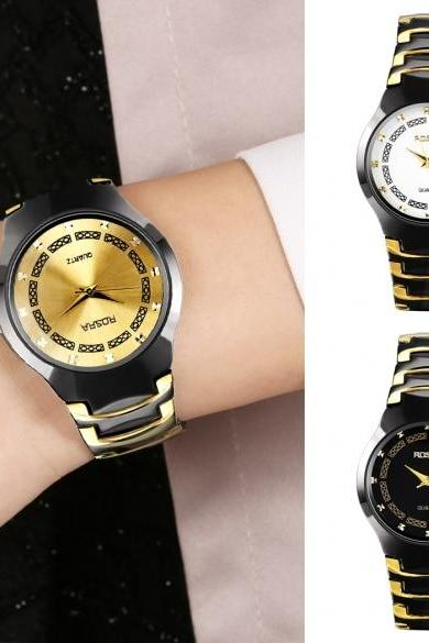 Men Women Fashion Stainless Steel Large Dial Quartz Analog Wrist Watch