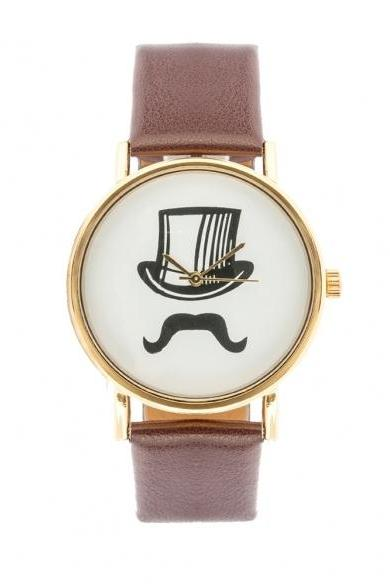 New Fashion Casual Mustache Cap Pattern Synthetic Leather Wristwatch Quartz Watch