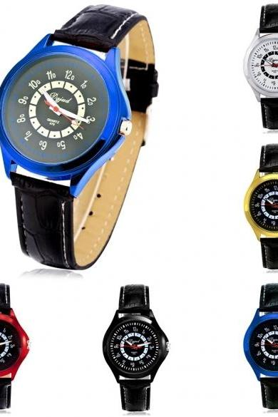 Men Fashion Large Dial Quartz Analog Wrist Watch 5 Colors