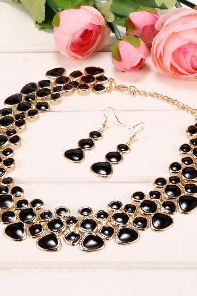 Stylish Women Necklace Earring Set Wedding Party Jewelry Sets