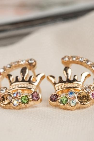 Fashion Ladies Chic Lovely Shinny Crystal Rhinestone Hollow Crown Ear Stud Earring Gift