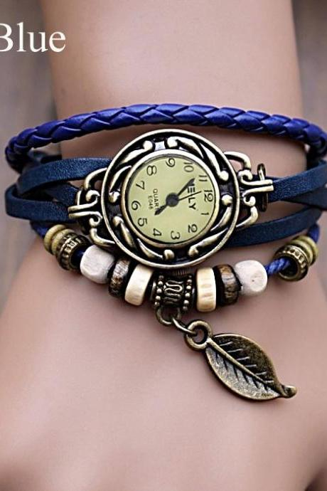 Quartz Weave Wrap Synthetic Leather Bracelet Women's Wrist Watch