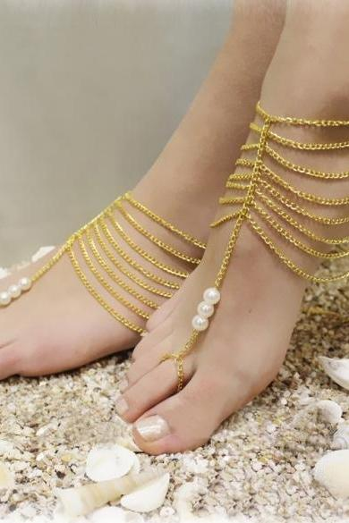 Hot Fashion Women Metal Beads Link Chain Casual Beach Party Bride Anklets