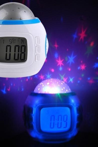 New Music Alarm Clock With Calendar Thermometer Star Sky Projection Thermometer