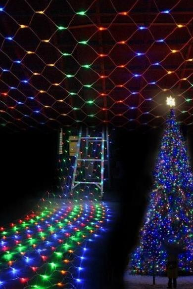 Colorful 200 LED Net Mesh Decorative Fairy Lights Twinkle Lighting Christmas Wedding Party EU/110-240V
