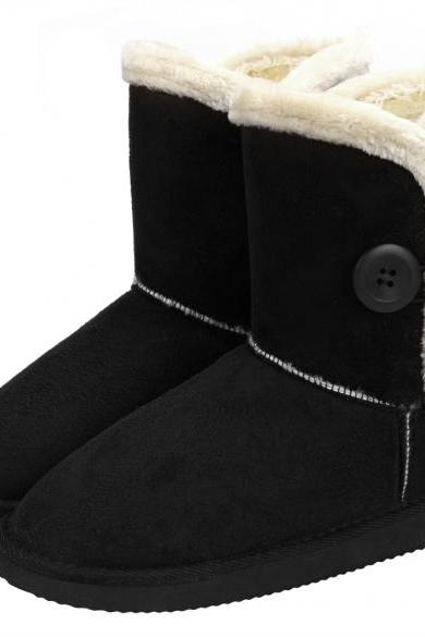 Women Winter Fashion Faux Fur Suede EVA Solid Button Closure Warm Short Snow Boots