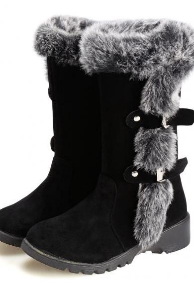 New Fashion Women Flats Snow Boots Casual Thicken Winter Warm Faux Fur Shoes
