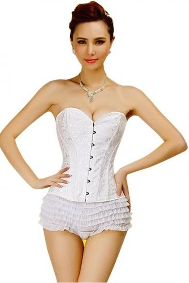 Ladies Vintage Style Lace up Lingerie Corset Bustier Tapestry Overbust Shapers Corset + T-string