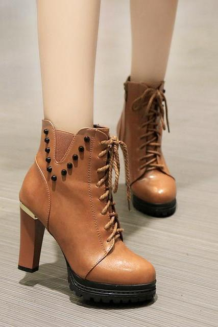 Patent Leather Chunky High Heel Boots with Studs on the Side