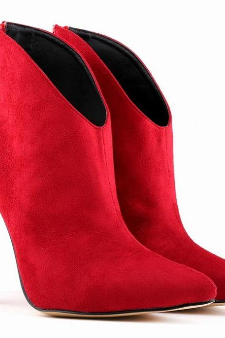 Faux Suede Pointed-Toe High Heel Ankle Boots Featuring Zipper Back