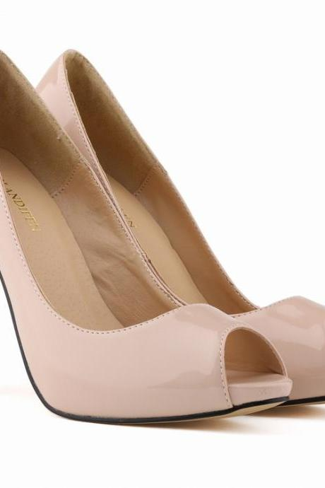 Patent Leather Peep-Toe High Heel Stilettos