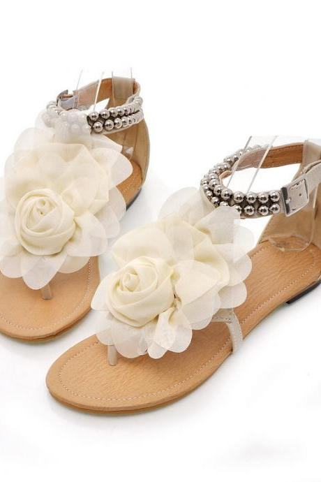 Bohemia Style 3-D Flowers Holiday Sandals