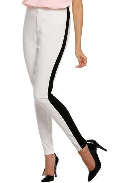Finejo Women Lady Black White Patchwork Casual Long Pants Trousers