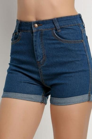 Korea Style New Fashion Women Summer High Waist Crimping Denim Shorts Jeans Shorts