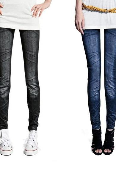 Women's Ladies Casual Tights Stretch Skinny Pants Jean Legging