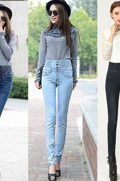 Fashion Slim Women Elastic Waist High Waist Skinny Long Pencil Pants Jeans