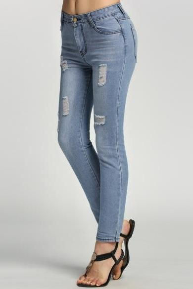 Distressed Light-Washed High Waisted Skinny Jeans
