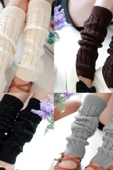 Women's Knit Crochet Winter Leg Warmer Socks