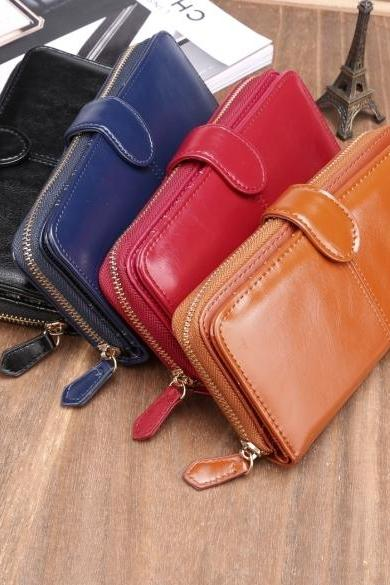 New Fashion Women Synthetic Leather Zip Purse Card Holder Clutch Long Wallet