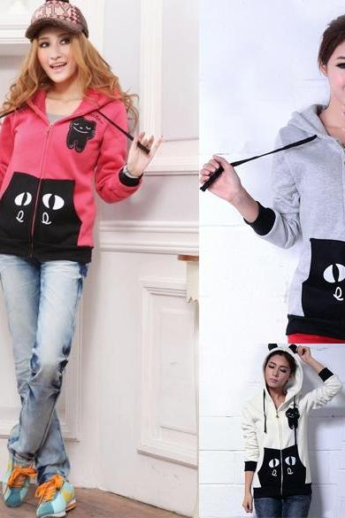 Women's Girls Fashion Cute Zip Ear Hoodie Cat Long Hooded Sweatshirt Coat Outwear