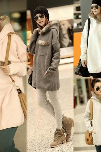 Fashion Lady Bat Sleeve Long Hoodie Faux Fur Collar Women Loose Thick Sweater