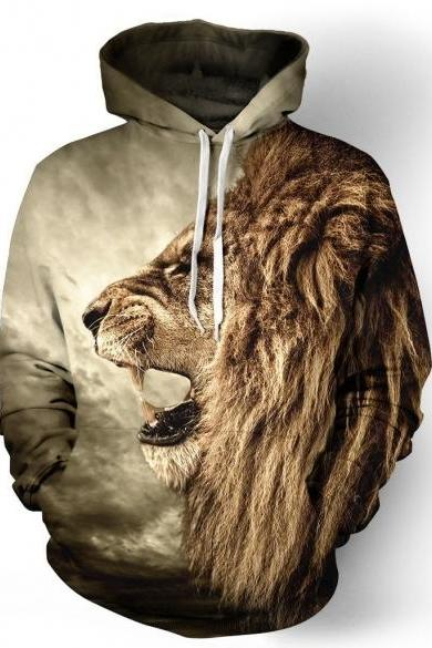 Loose Long Sleeve Animal Print Hoodies