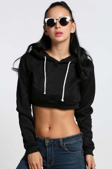 New Women Casual Crop Top Hooded Long Sleeve Short Hoodie