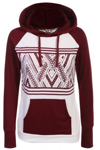 Fashion Women Hooded Raglan Sleeve Patchwork Pullover Casual Hoodie Sweatshirt