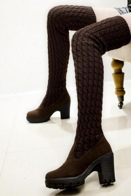 Fashion High Heeled Knee-High Wool Canister Warm Boots