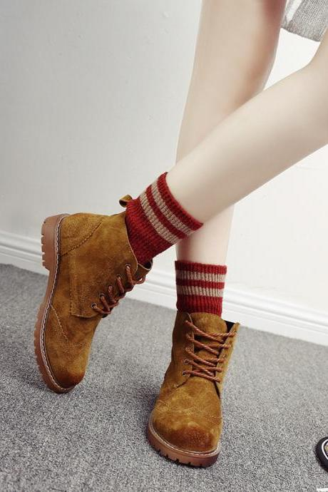 Fashion Leather Brush Color Ankle Boots