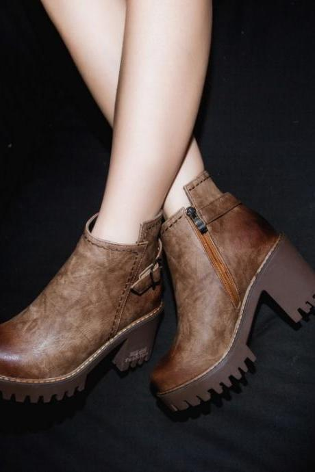 Fall Fashion Chunky Heel Brush Color Ankle Boots