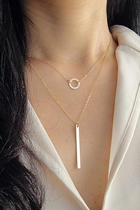 Metal Loops Stick Tassel Multilayer Necklace